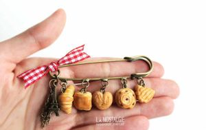 Beautiful French Viennoiserie Pin Brooch Accessory by LaNostalgie05