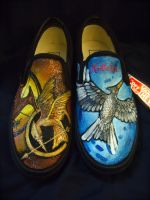 VANS slip-ons hand painted with Hunger Games by alcat2021