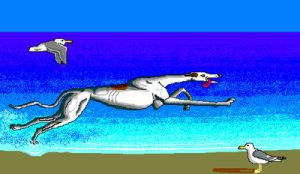 'Greyhound on Beach' in MS Paint by Cecilia-Schmitt