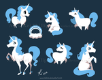 blue unicorns by kinkei