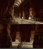 Art Deco Tech Hallway WIP by ZackF