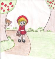 little red ridding hood and shy wolf by jazzy1lol