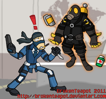 Solid Spy and Pyro Mantis by BrokenTeapot