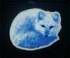 Curled arctic fox - embroidery patch by goiku