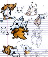 Cubone doodles-colored by echaltraw