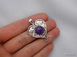 'Fairies heart' handmade sterling silver pendant by seralune