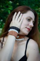 Choker and Cuffs by TheHauteDame