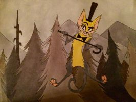 Bill cipher as a cat by MartyMcFIy