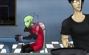 There's an Alien in my Kitchen by Hobo-Nikki