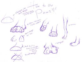 How to draw paws... by Kaashtian
