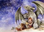 toothless and Hiccup by sanoe