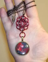 Chainmaille Rose with Harley Quinn Cabochon by ShadyDarkGirl