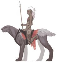 Desert elf on riding beast by tigr3ss