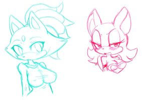 Blaze and rouge sketches by HearlessSoul