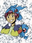 Davis And Veemon cap by peacesakurablossem