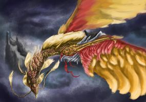 The Golden Phoenix Dragon by TheSpecialSnowflake