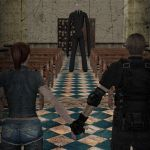 Claire Redfield and Leon Kennedy meet Slenderman by hellsinglala