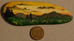 Peaceful sunset - rock painting by Annamoon77