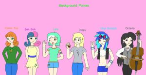 MLP FIM humans Background ponies by Kaeru456