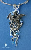 Water dragon necklace by JuliaKotreJewelry