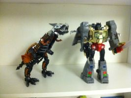 Movie and G1 Grimlock by darthraner83