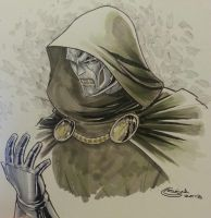 dr doom sketch commission nycc by Sajad126