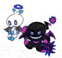 Sonic the Hedgehog's HERO CHAO and DARK CHAO by Empress-XZarrethTKon
