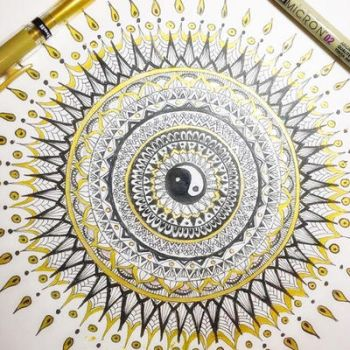Black and gold Mandala  by michelledh