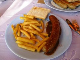 Currywurst with fries by victorymon