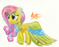 Fluttershy Gala Dress Watercolor by kittyhawk-contrail