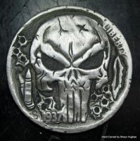 Punisher Carved Coin Hobo Nickel by shaun750