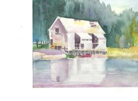Watercolored house by ChipperTheDrawer