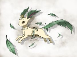 Leafeon with leaves by CottonValent