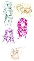 HoO girls + Gaea _ Sketches by akai1992