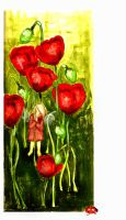 hiding with the poppies by GrueneWolken