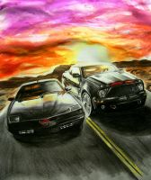 Old KITT vs. New KITT by Lowrider-Girl