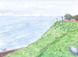 Green Coast and the Pacific Ocean - Water Color by GhostHead-Nebula