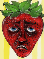Tired Stawberry by Food-and-art