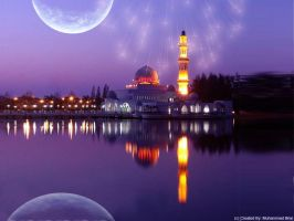 Beautiful Mosque Night Fantasy by starlord