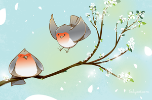 Fat Spring Birds by lafhaha