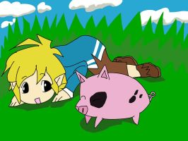 Windwaker Link and pig by SASUU16