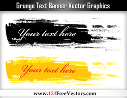 Grunge Text Banner Vector Graphics by 123freevectors