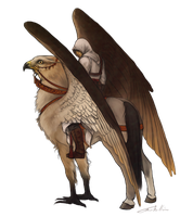 Altair on a hippogriff by TrineKN