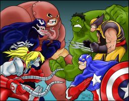 Marvel Fight Colored by amydrewthat