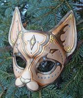 Desert Cat Leather Mask by merimask