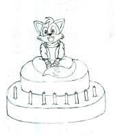 chibi fox on cake by Lexafar