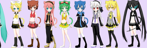 Vocaloid Cat Girls by AnimePrincess99