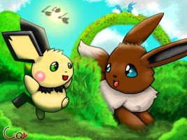 Eevee and Pichu hide and seek by Pand-ASS