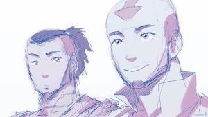 Book 2 - Aang and Sokka :Concept Sketch: by moxie2D