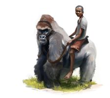 Kid riding a Gorilla  Daily Doodle 2 08 2013 by JordyLakiere